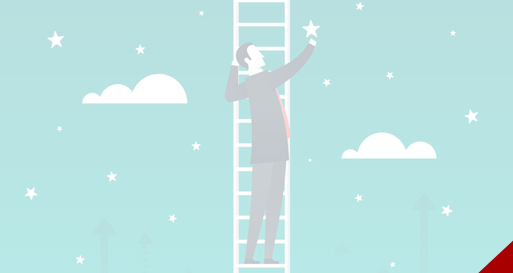 Businessman on ladder, reaching for the stars