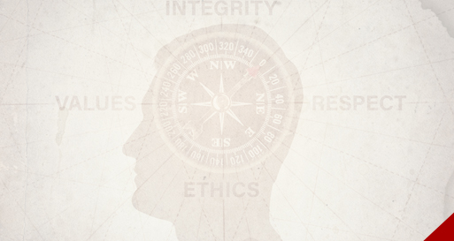 Business integrity crisis, compass reading: Integrity, Respect, Ethics and Values
